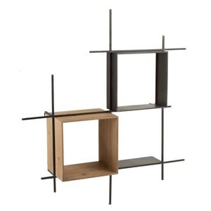 J-Line by Jolipa Nástěnná černá kovovo-dřevěná police Compart - 114*29*128cm obraz
