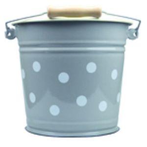 Münder Email Šedý smaltovaný kyblík s puntíky Grey dot - Ø24*23cm - 6L obraz