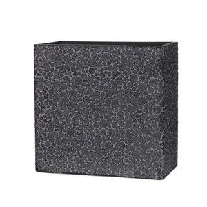 Ostatní Černý hranatý vysoký květináč s letokruhy Wood - 31*16*29 cm obraz