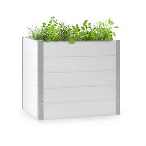 Blumfeldt Nova Grow, zahradní záhon, 100 x 91 x 100 cm, WPC, dřevěný vzhled, bílý obraz