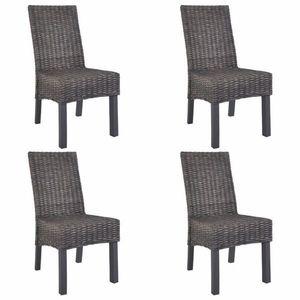 Jídelní židle 4 ks ratan / mangovník Dekorhome Hnědá obraz