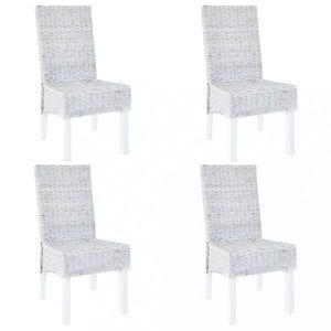 Jídelní židle 4 ks ratan / mangovník Dekorhome Šedá obraz