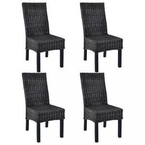 Jídelní židle 4 ks ratan / mangovník Dekorhome Černá obraz