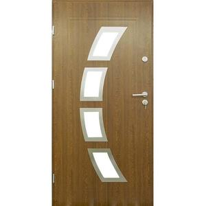 Vchodové dveře Malaga 90L Zlatý Dub inox 55 otevírající se dovnitř obraz