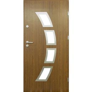 Vchodové dveře Malaga 90P Zlatý Dub inox 55 otevírající se dovnitř obraz