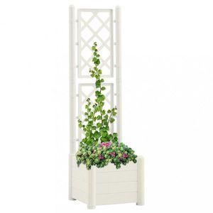 Zahradní truhlík s treláží 43 x 43 x 142 cm PP Dekorhome Bílá obraz