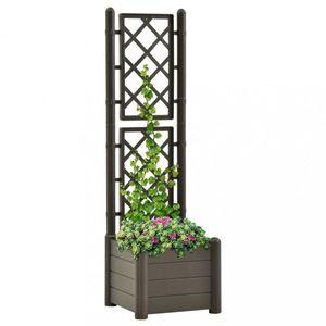 Zahradní truhlík s treláží 43 x 43 x 142 cm PP Dekorhome Antracit obraz