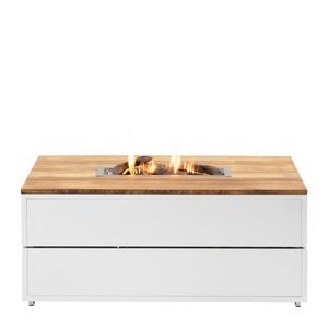 Stůl s plynovým ohništěm COSI- typ Cosipure 120 bílý rám / deska teak obraz