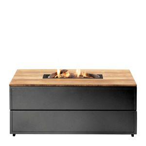 Stůl s plynovým ohništěm COSI- typ Cosipure 120 černý rám / deska teak obraz