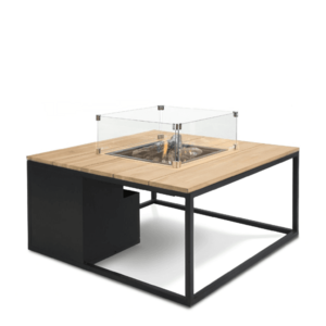 Stůl s plynovým ohništěm COSI- typ Cosiloft 100 černý rám / deska teak obraz