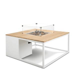 Stůl s plynovým ohništěm COSI- typ Cosiloft 100 bílý rám / deska teak obraz