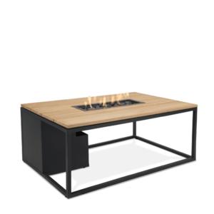 Stůl s plynovým ohništěm COSI- typ Cosiloft 120 černý rám / deska teak obraz