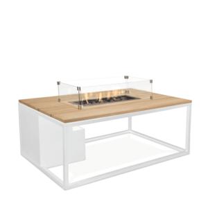 Stůl s plynovým ohništěm COSI- typ Cosiloft 120 bílý rám / deska teak obraz