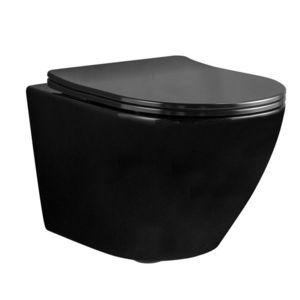 REA Závěsná WC mísa Carlo Mini Rimless Flat černá REA-C8936 obraz