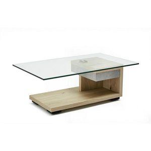 Moderano KONFERENČNÍ STOLEK, bílá, barvy ořechu, dřevo, kov, sklo, kompozitní dřevo, 110/65/40 cm - bílá, barvy ořechu obraz