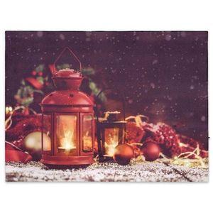 Nexos Nástěnná malba červené lucerny, 2 LED, 30 x 40 cm obraz