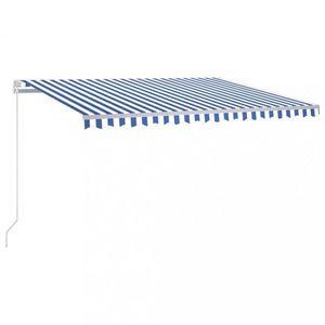 Ručně zatahovací markýza s LED světlem 400 cm Dekorhome Bílá / modrá obraz