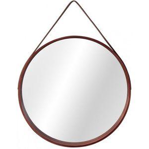 Tutumi Kulaté zrcadlo Loft 59 cm dřevěné hnědé obraz