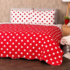 4Home Přehoz na postel Červený puntík, 220 x 240 cm, 2 ks 50 x 70 cm obraz