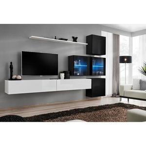 Obývací Stěna Switch XIX Sklo + LED Bílý obraz
