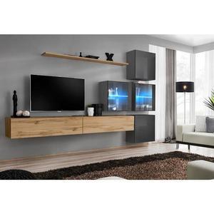 Obývací Stěna Switch XIX Sklo + LED Wotan obraz