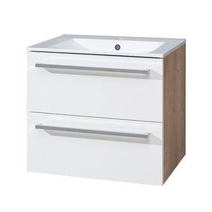 MEREO Bino koupelnová skříňka s keramickým umyvadlem 60 cm, spodní, bílá/dub, 2 zásuvky CN670 obraz