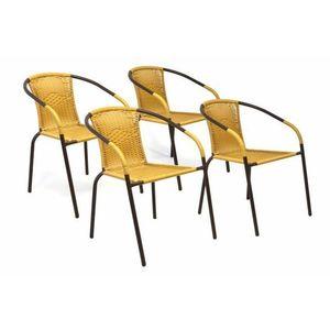 Garthen 35123 Sada 4 kusů zahradních židlí s polyratanovým výpletem - béžová obraz