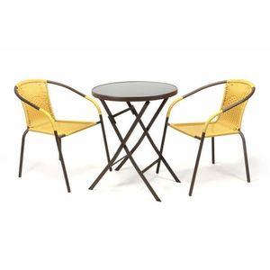 Garthen BISTRO 35222 Zahradní set 2 židle + stůl - béžový polyratan obraz