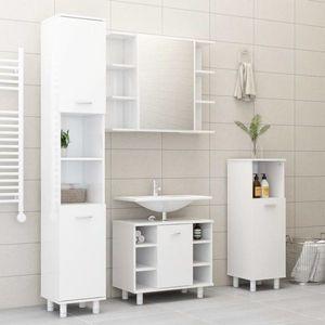 Koupelnová sestava 4 ks DTD Dekorhome Bílá lesk obraz