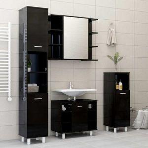 Koupelnová sestava 4 ks DTD Dekorhome Černá lesk obraz