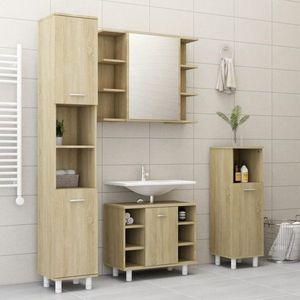 Koupelnová sestava 4 ks DTD Dekorhome Dub sonoma obraz