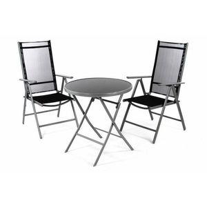 Garthen 36492 Zahradní balkónový set židle a stůl - černé obraz